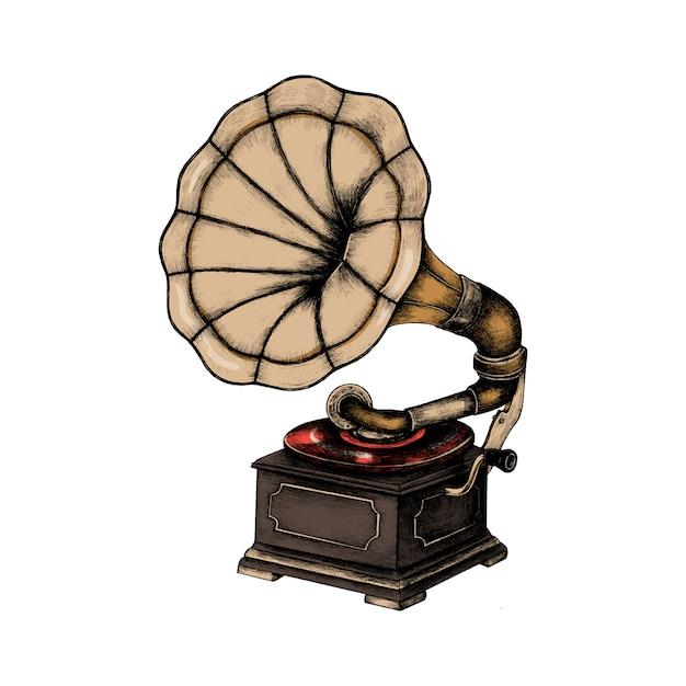 Phonographe classique dessiné à la main Vecteur gratuit
