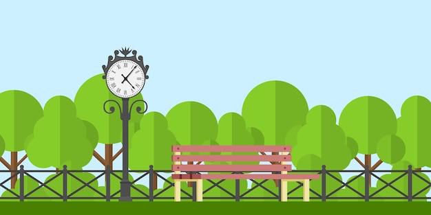 Photo D'un Banc De Parc Et Horloge De Parc Avec Clôture Et Arbres Sur Fond, Illustration De Style Vecteur Premium