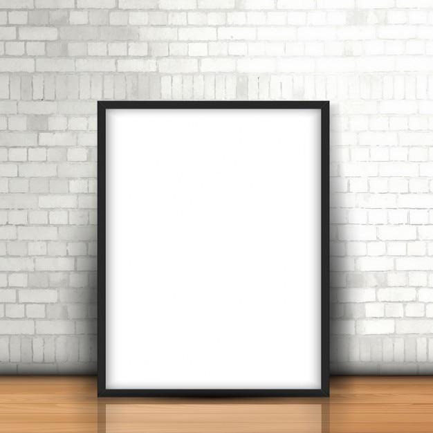 Photo blank appuyé contre un mur de briques blanches Vecteur gratuit