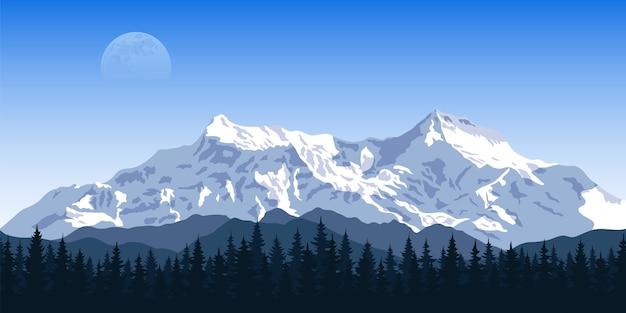 Photo D'une Chaîne De Montagnes Avec La Silhouette De La Forêt Et La Lune Sur Fond, Voyage, Tourisme, Randonnée Et Trekking Concept Vecteur Premium