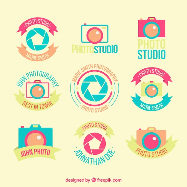 Photo Flat Badges Studio Vecteur gratuit