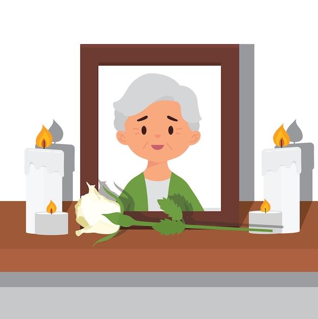 Photo d'une grand-mère décédée Vecteur Premium