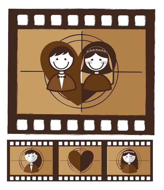 Photo grunge marié sur illustration vectorielle fond blanc Vecteur Premium