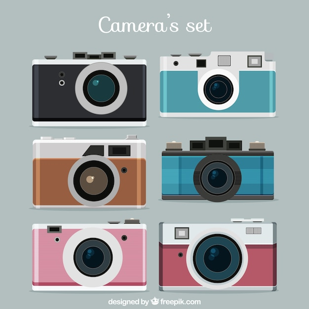 Photo à Plat Caméra Set Vecteur gratuit