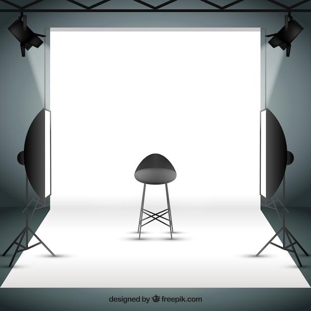 Photo studio avec sportlights Vecteur gratuit