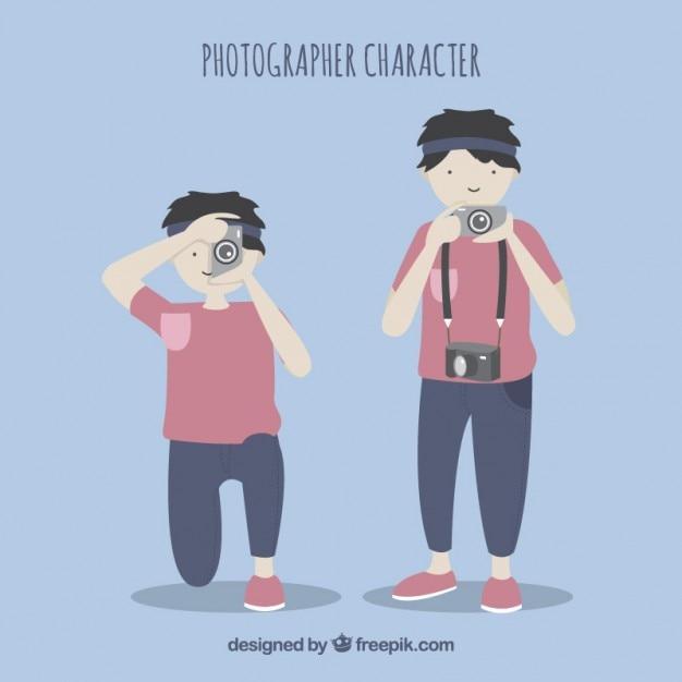 Photographe character pack Vecteur gratuit
