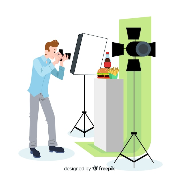 Photographe design plat prenant des photos en studio Vecteur gratuit