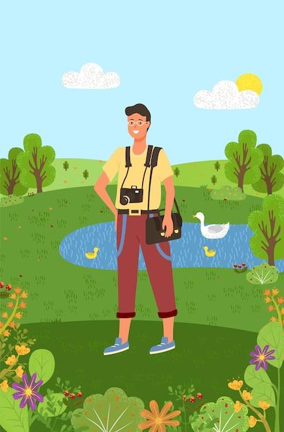 Photographe avec équipement se promener dans l'étang du parc Vecteur Premium
