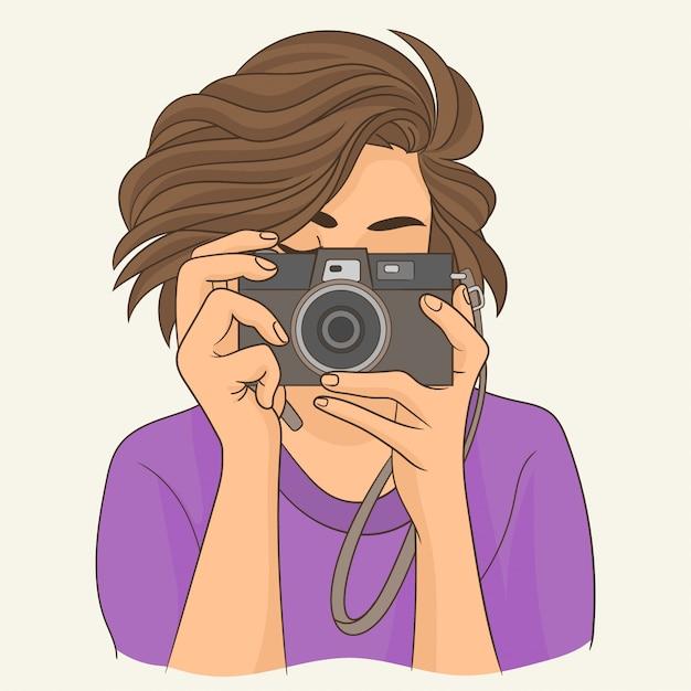 Photographe fille avec caméra Vecteur Premium
