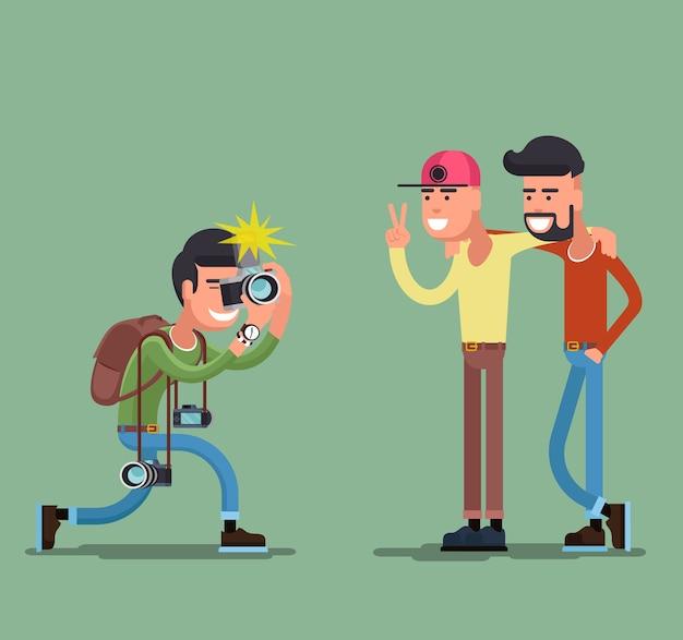 Photographe Tirant Des Gens. Appareil Photo Et Photographie, Personne Professionnelle, Homme Ami Sourire. Vecteur gratuit