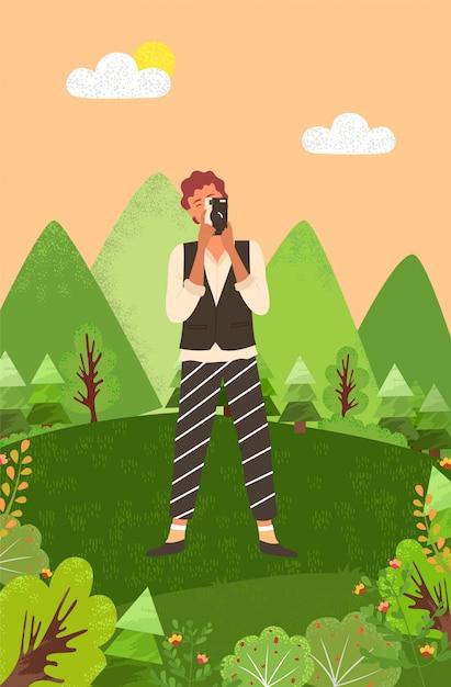 Photographe travaillant sur une photo Vecteur Premium