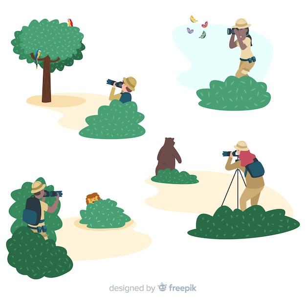 Photographes de personnages design plat dans la nature Vecteur gratuit