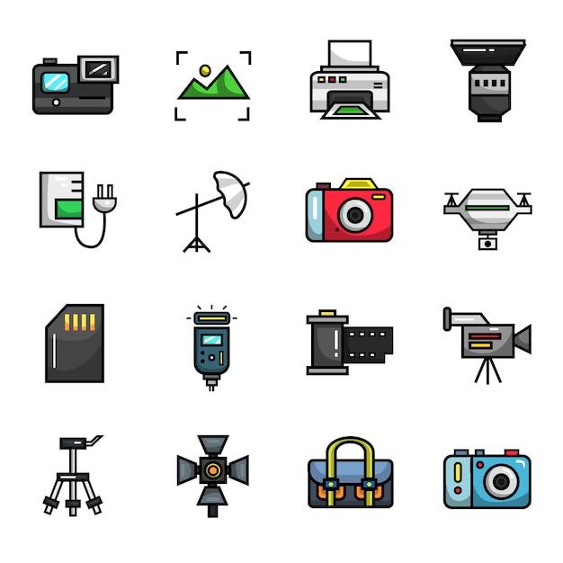 Photographie caméra photo éléments couleur jeu d'icônes Vecteur Premium
