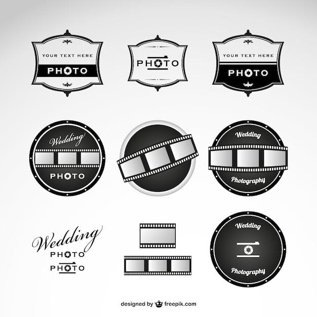 Photographie de mariage logos modèle Vecteur gratuit