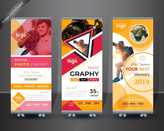 Photographie roll up banner design Vecteur Premium