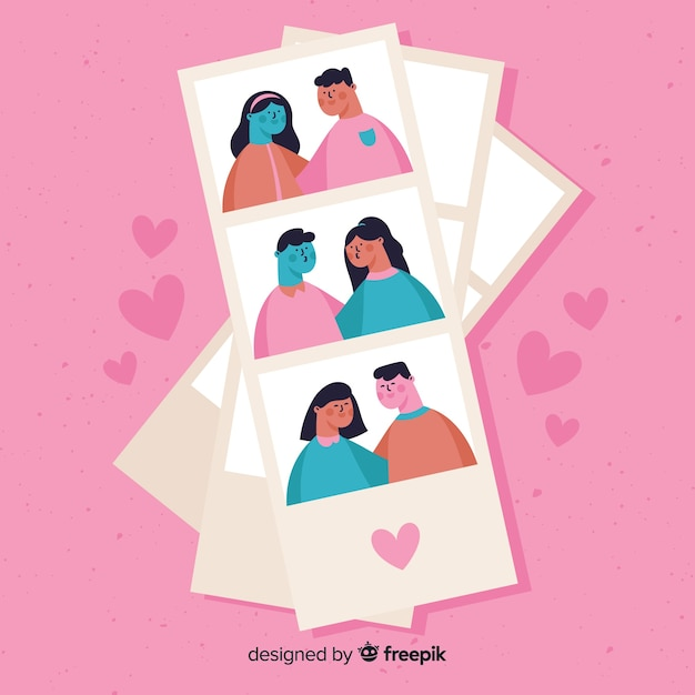 Photomaton valentine couple collection Vecteur gratuit