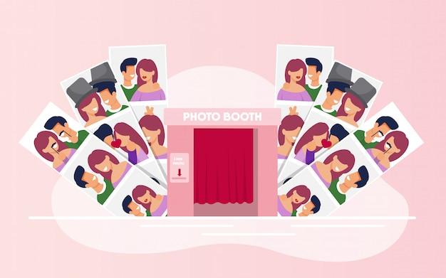 Photos de variétés avec couples heureux de la cabine booth Vecteur Premium