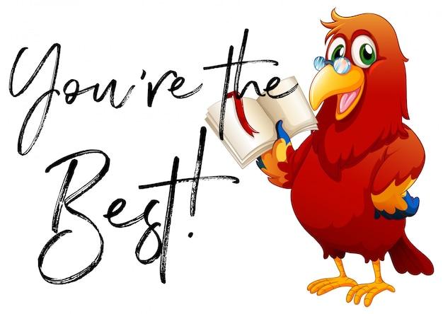 Phrase tu es le meilleur avec le livre de lecture de perroquet Vecteur Premium
