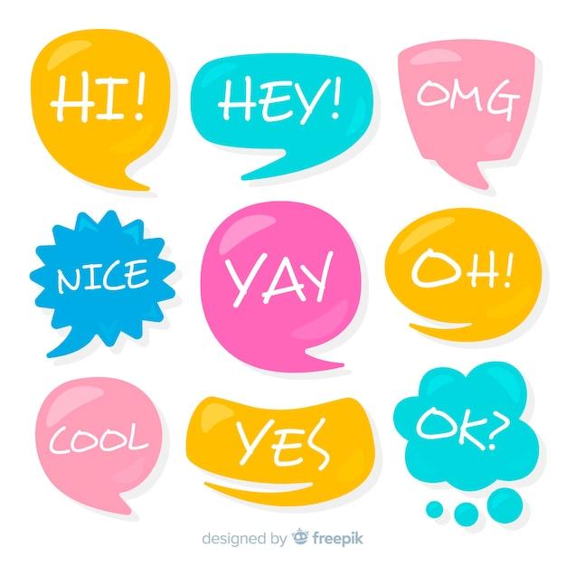 Phrases de conversation sur la collection de bulles colorées Vecteur gratuit