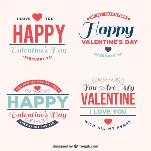 Phrases De Jour De Valentin Vecteur gratuit
