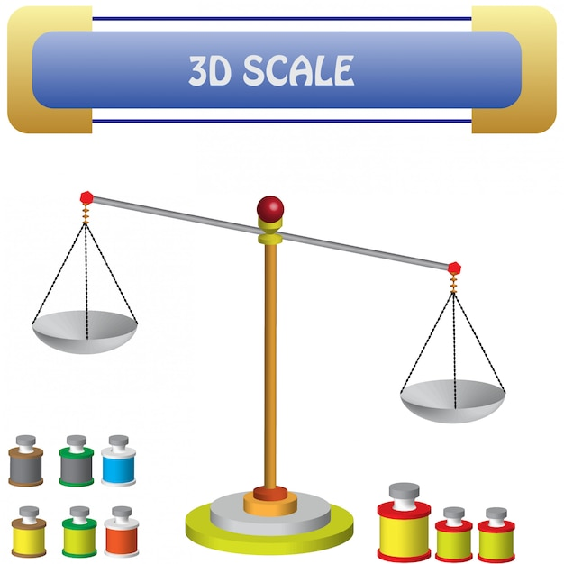 Physique - balance questions et matériel Vecteur Premium