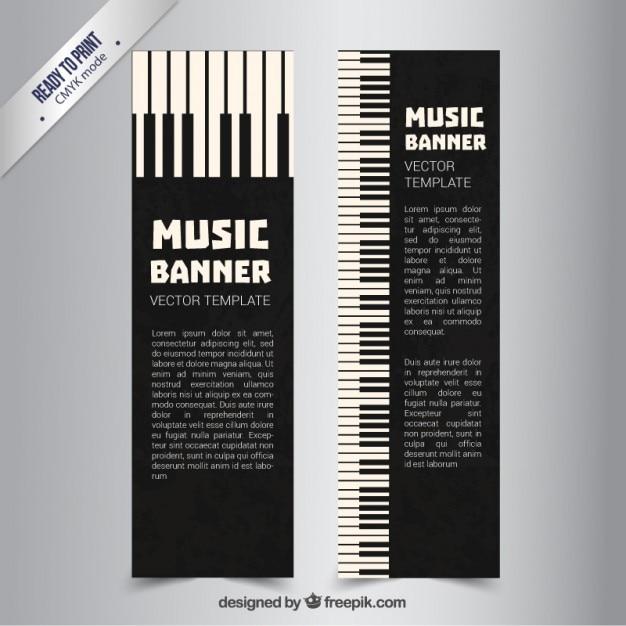 Piano bannières Vecteur gratuit