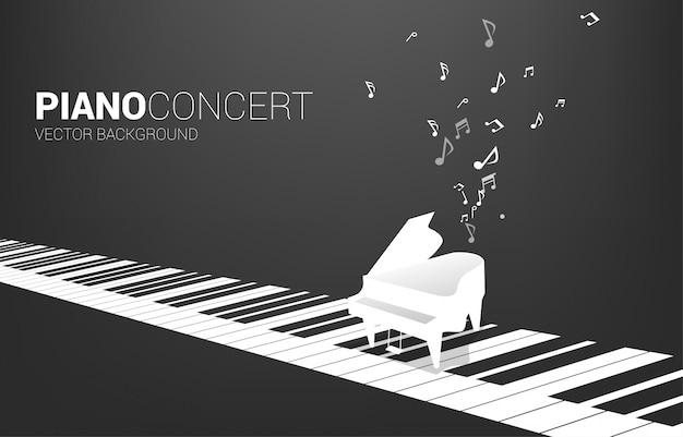 Piano à Queue De Vecteur Avec Touche De Piano Et Note De Musique. Fond De Concept Pour Le Thème De La Chanson Et Du Concert. Vecteur Premium