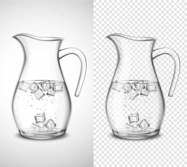 Pichet en verre avec eau et glace Vecteur gratuit