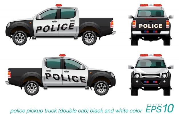 Pickup Double Cab Voiture De Police Vecteur Premium
