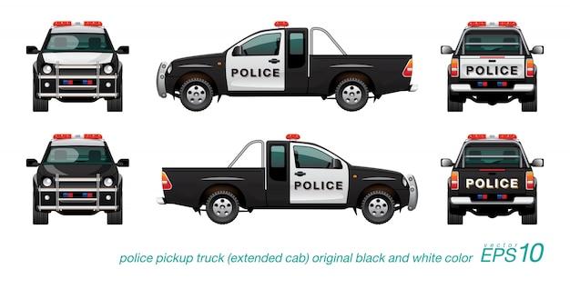 Pickup Police Car Vecteur Premium