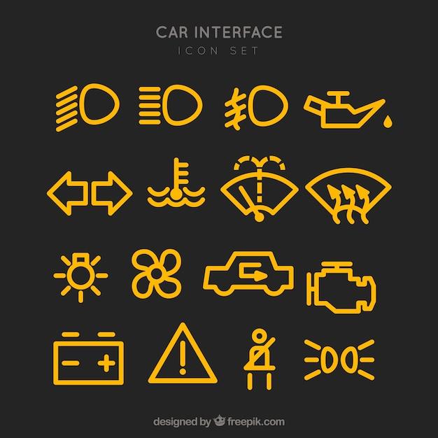 Pictogrammes de réglages de la voiture Vecteur gratuit