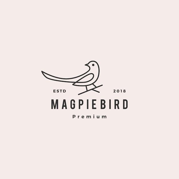 Pie oiseau logo vector icon illustration Vecteur Premium