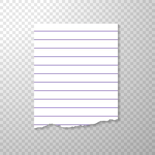 Pièce déchirée doublée de papier à partir de cahier. Vecteur gratuit