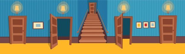 Pièce Intérieure Avec Escalier Et Portes. Illustration Du Couloir De Dessin Animé. Vecteur Premium