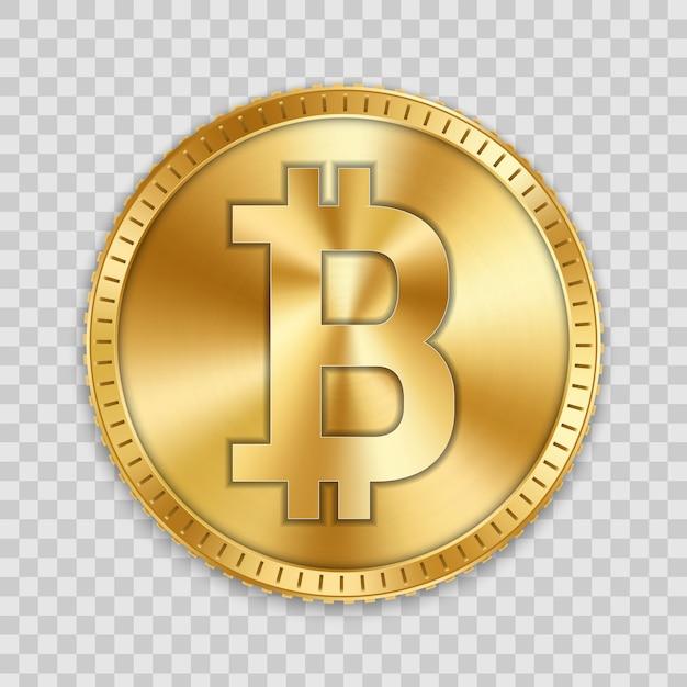 Pièce d'or bitcoin, monnaie, crypto-monnaie Vecteur Premium