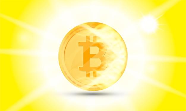 Pièce D'or De Cryptomonnaie Sur Fond Blanc. Bitcoin Symbole De La Monnaie électronique Dans Les Effets De Feu Et De Lumière. Vecteur Premium