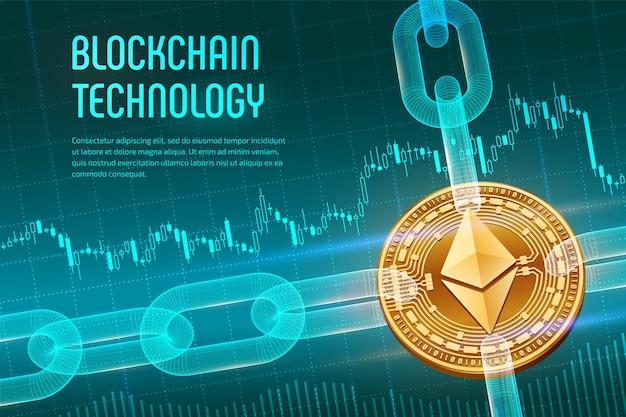 Pièce Physique Ethereum Dorée Avec Chaîne Filaire Sur Fond Financier Bleu. Concept De Blockchain. Vecteur Premium