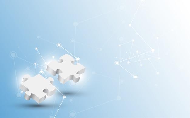 Pièce de puzzle de couple avec fond de technologie Vecteur Premium