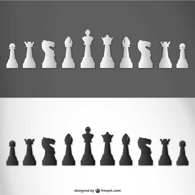 Pièces d'échecs vecteur Vecteur gratuit