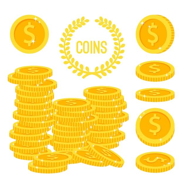 Pièces de monnaie et pile d'argent d'or isolé sur blanc Vecteur Premium
