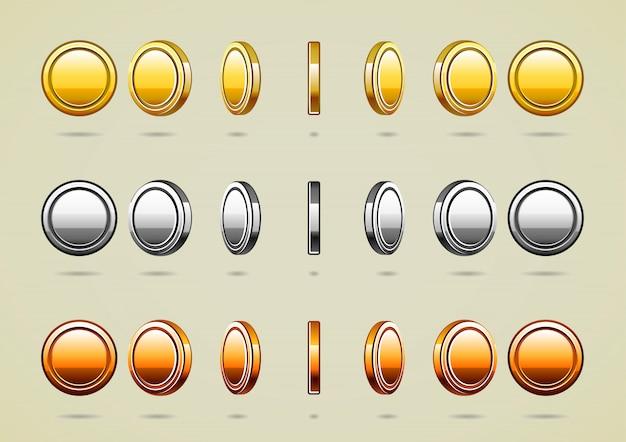 Pièces de monnaie de rotation Vecteur Premium