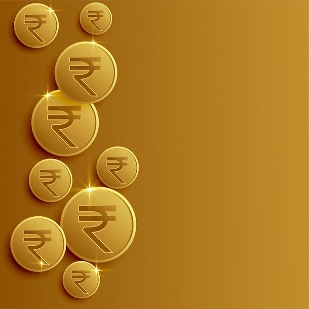 Pièces de monnaie roupie indienne avec espace de texte Vecteur gratuit