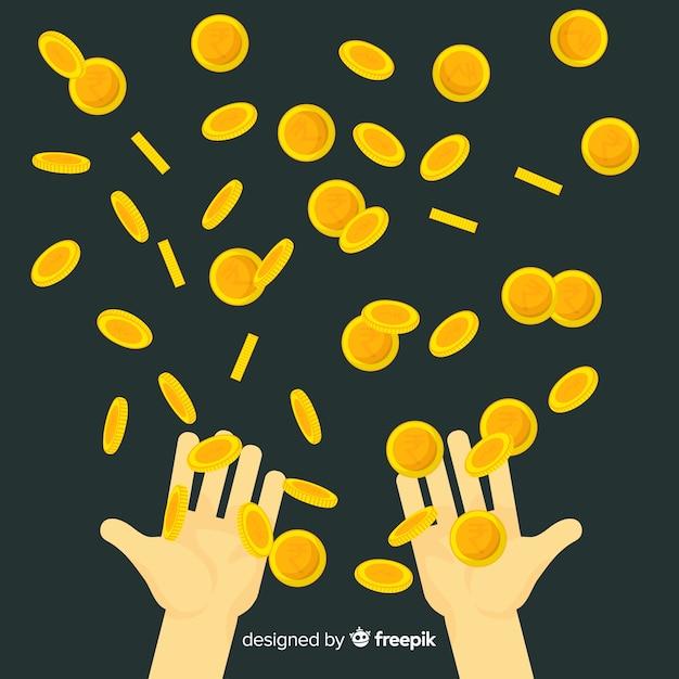 Pièces de monnaie roupie indienne tombant Vecteur gratuit