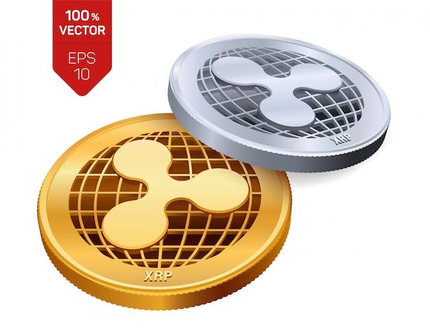Pièces D'or Et D'argent De Crypto-monnaie Avec Le Symbole D'ondulation Isolé Sur Fond Blanc. Vecteur gratuit