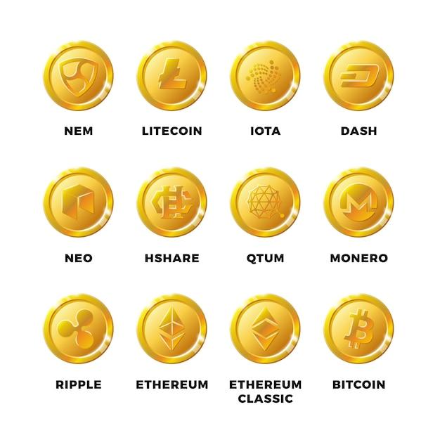 Pièces d'or de cryptomonnaie avec bitcoin, jeu de symboles vectoriels de litecoin ethereum Vecteur Premium