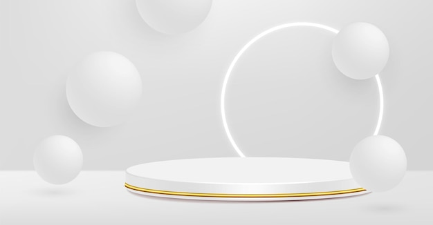 Piédestal De Produit, Blanc Et Or, Forme De Cylindre. Vecteur Premium