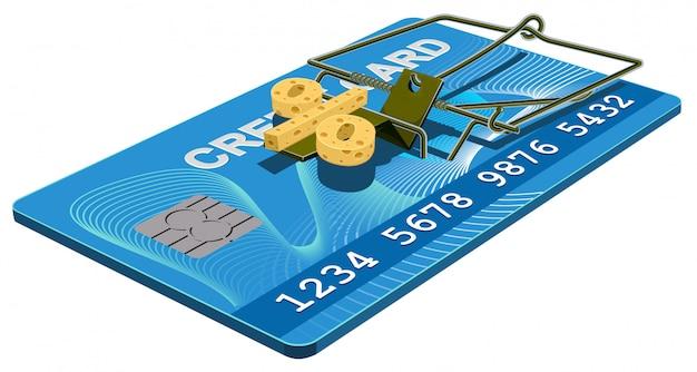 Piège à Carte De Crédit, Fromage Sans Intérêt Bancaire Dans La Souricière Vecteur Premium