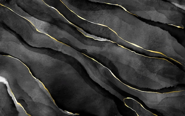 Pierre Aquarelle Noire Avec Veines Dorées Vecteur gratuit