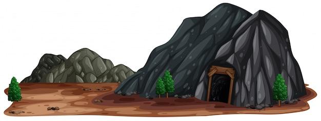 Une pierre de mine dans la nature Vecteur Premium