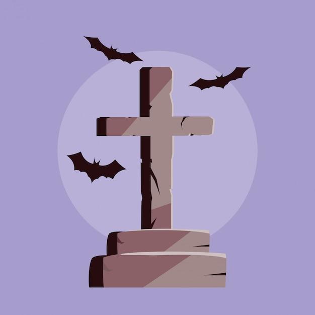 Pierre tombale en forme de croix et chauves-souris en vol Vecteur Premium